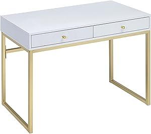 ACME Furniture Acme 92312 Coleen Desk, White & Brass