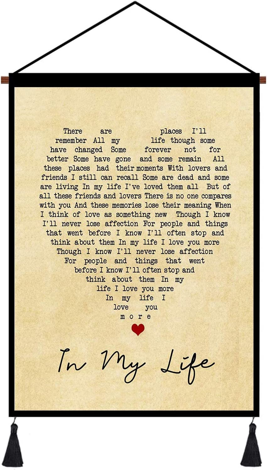 kasader in My Life Heart Unique Quote Song Lyric Retro Wall Art Gift Print Canvas Reel Home Decor 18x12in