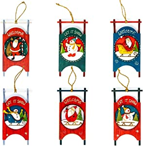Harbor 55 Christmas Sled Ornament (Set of 6) Vintage Holiday Sleigh Décor, Wood, Country Snowman and Santa Claus