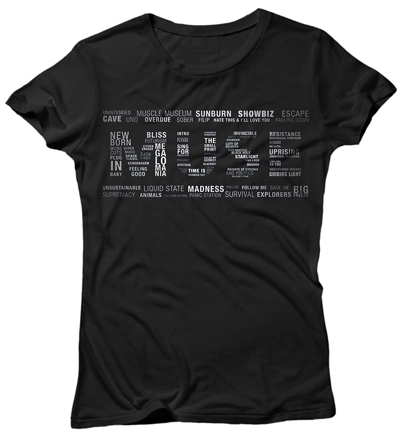 Camiseta Mujer Muse Multi Text - Camiseta 100% algodòn LaMAGLIERIA: Amazon.es: Ropa y accesorios