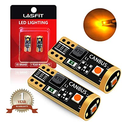LASFIT 194 168 T10 2825 W5W LED Bulb Canbus Error Free, Non-Polarity 400LM Extremely Bright for Side Marker Turn Signal Blinker Map Doors, 12-24V, Amber Yellow (Pack of 2): Automotive