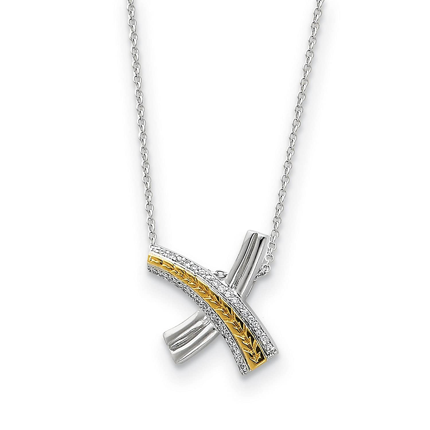 925 Sterling Silver w//Gold-tone Polished CZ Sealed With a Kiss Necklace 18 by Sentimental Expressions