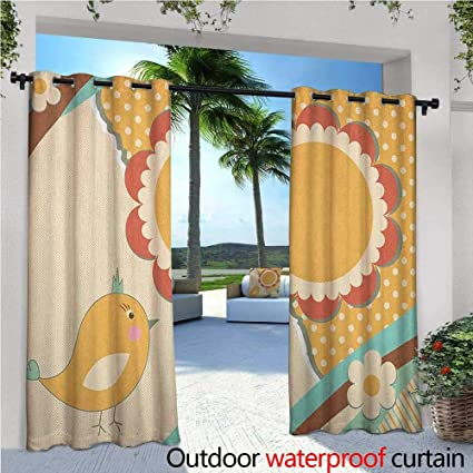 89a6f4b414cc Doodle Outdoor- Free Standing Outdoor Privacy Curtain Cute Little Bird with  a Giant Flower on