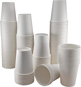 Paper Cups 8 oz - Bulk 200 Count - White Disposable Hot and Cold Drink Cups for Coffee, Tea, Cocoa and Beverages - Strong Leak Proof No Spill Coating - Home, Office, Water Cooler, Party, Restaurant
