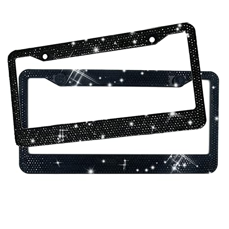 Amazon.com: EEEKit Rhinestone License Plate Frame, 2 Packs Pure ...