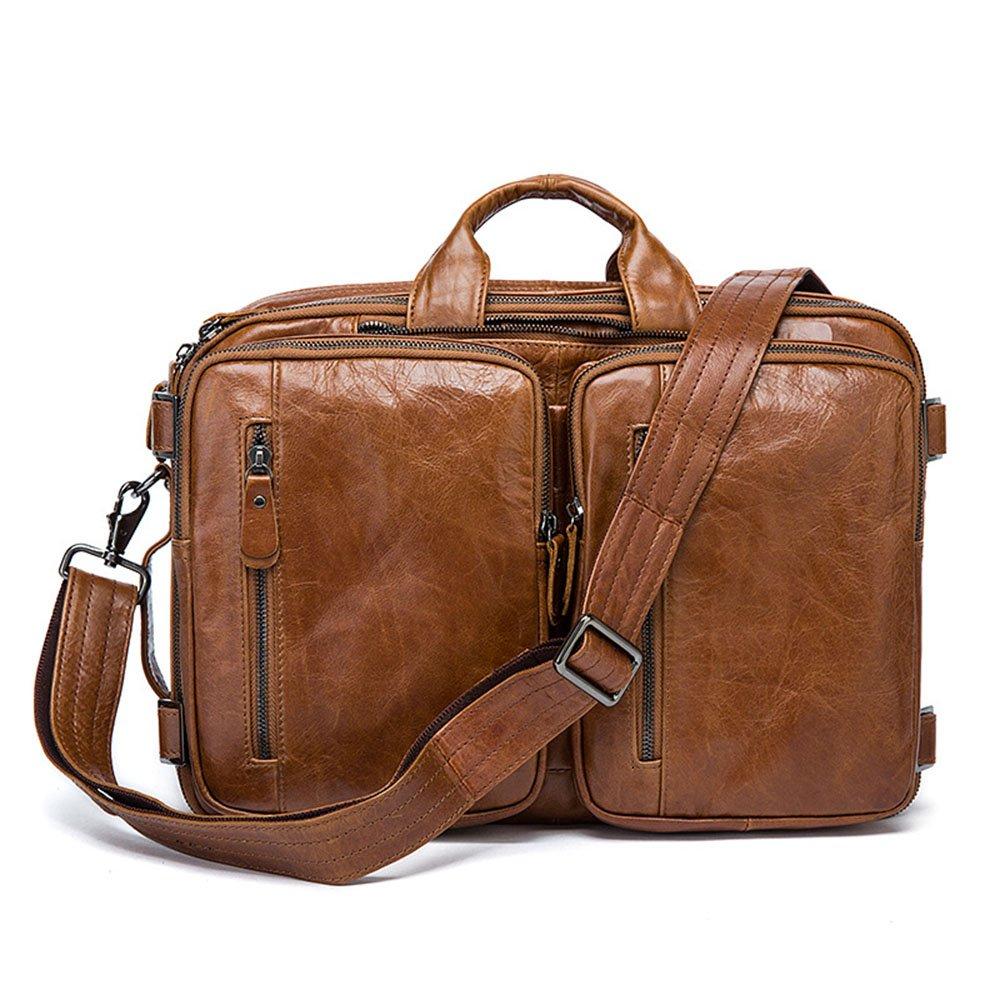スタイリッシュなシンプルレザーメンズブラウンメッセンジャーバッグ多目的ショルダーバッグバックパック 旅行用ハンドバッグ (色 : 褐色)  褐色 B07NSL4QD4