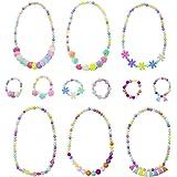 6 Sets Princess Necklace Bracelet, Granmp Dress Up Jewelry for Little Girls Kids Necklace Little Girls Jewelry Toddler Jewelry Costume Play Necklace and Bracelet Set Party Favor
