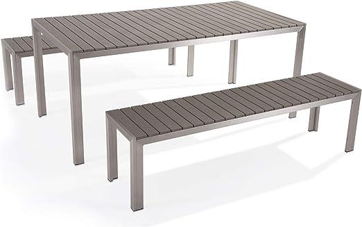 Muebles de jardín de Aluminio Gris – Mesa 180 cm – 2 Bancos – Polywood – Nardo: Beliani: Amazon.es: Juguetes y juegos