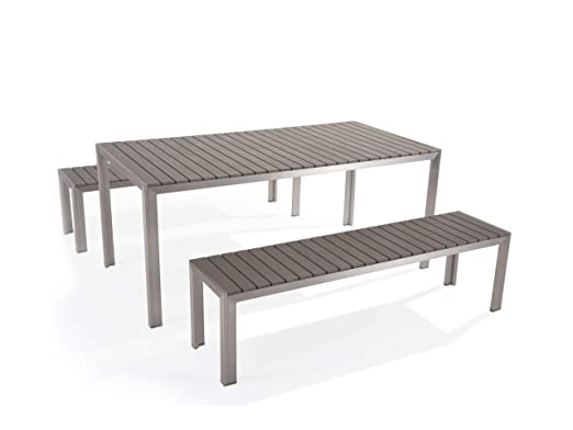 Beliani Juego de Muebles de jardín Aluminio Gris - Mesa 180 cm - 2 ...