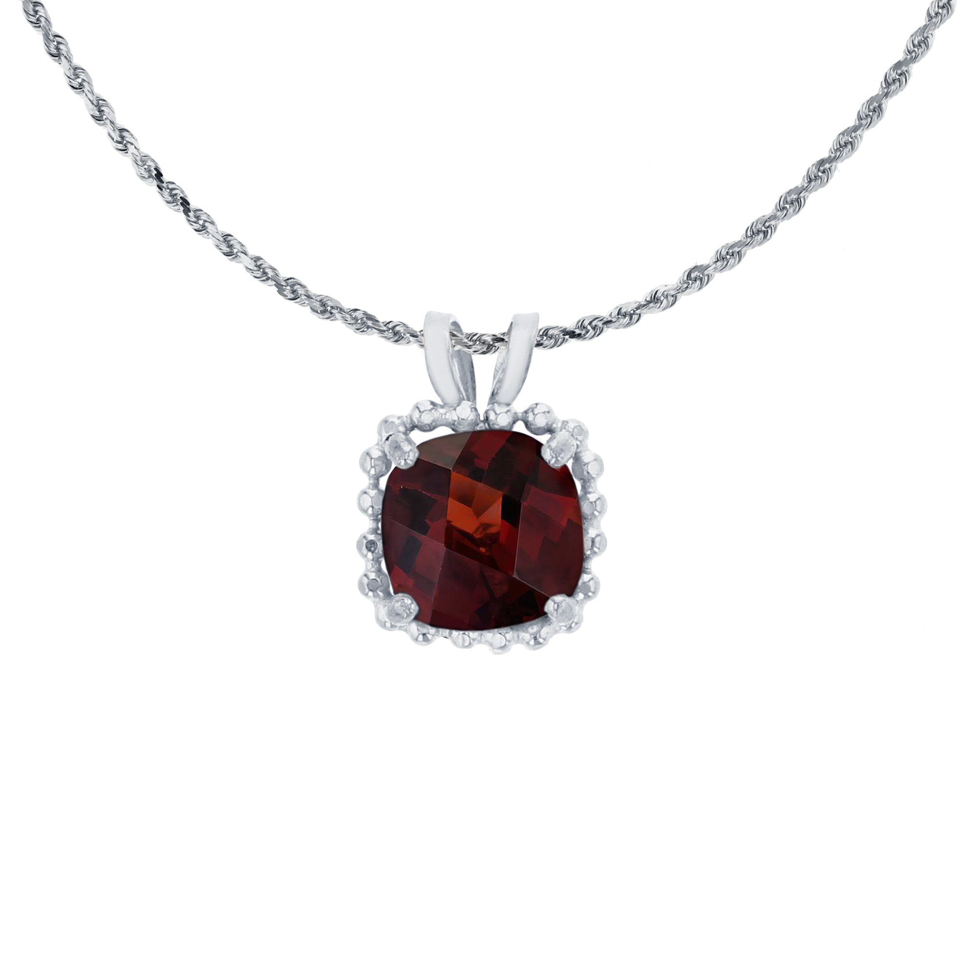 14K White Gold 6mm Cushion Cut Garnet Bead Frame Rabbit Ear 18'' Rope Chain Necklace by Decadence