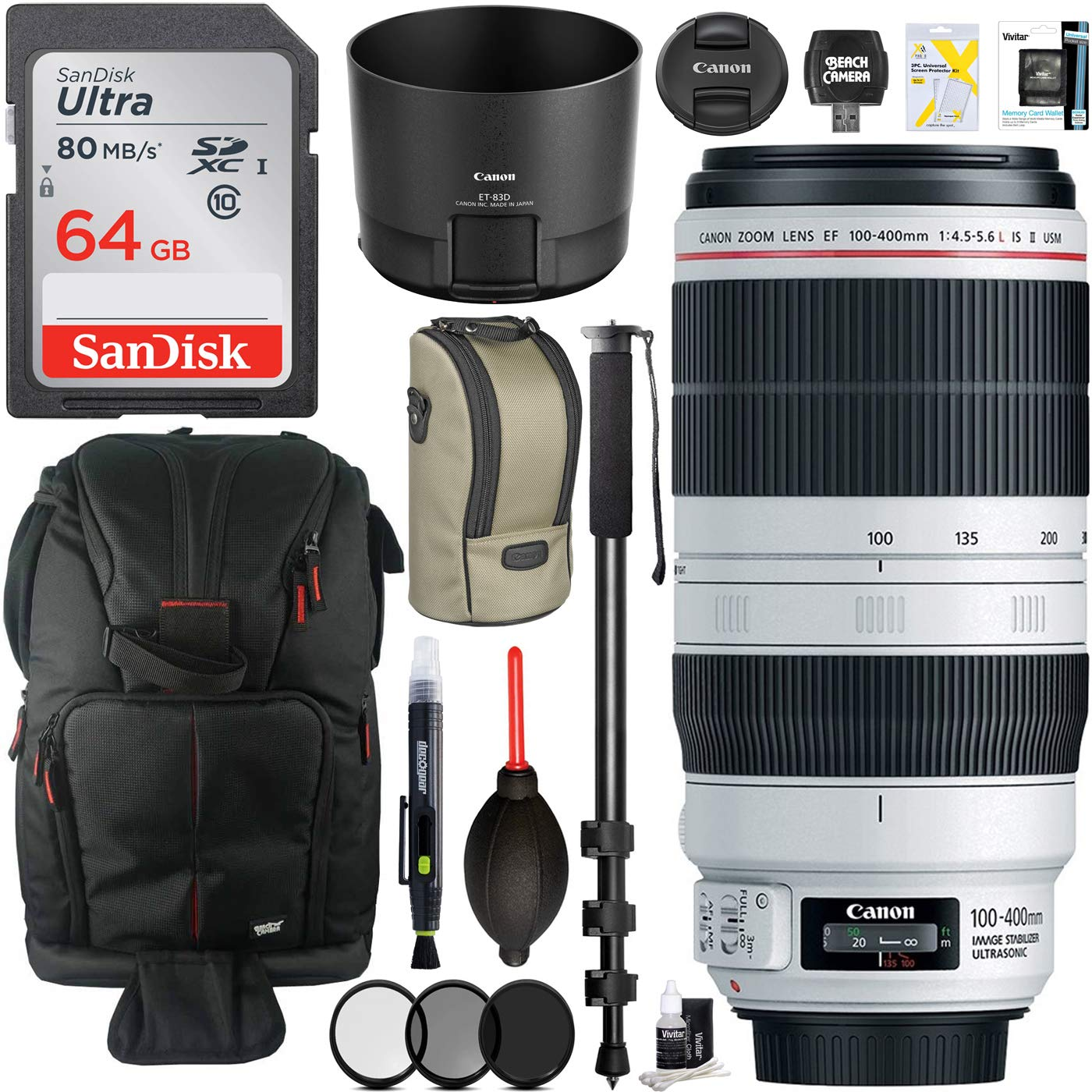 77mm Filter Kit 72-Inch Monopod 5 Items Lens Blower and Accessories Lens Cleaning Pen Sling Backpack Canon 9524B002 EF 100-400mm f//4.5-5.6L is II USM Lens Bundle with 64GB Memory Card