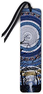 product image for Full Moon - Art by Gaia Woolf-Nightingall, Wooden Bookmark with Suede Tassel