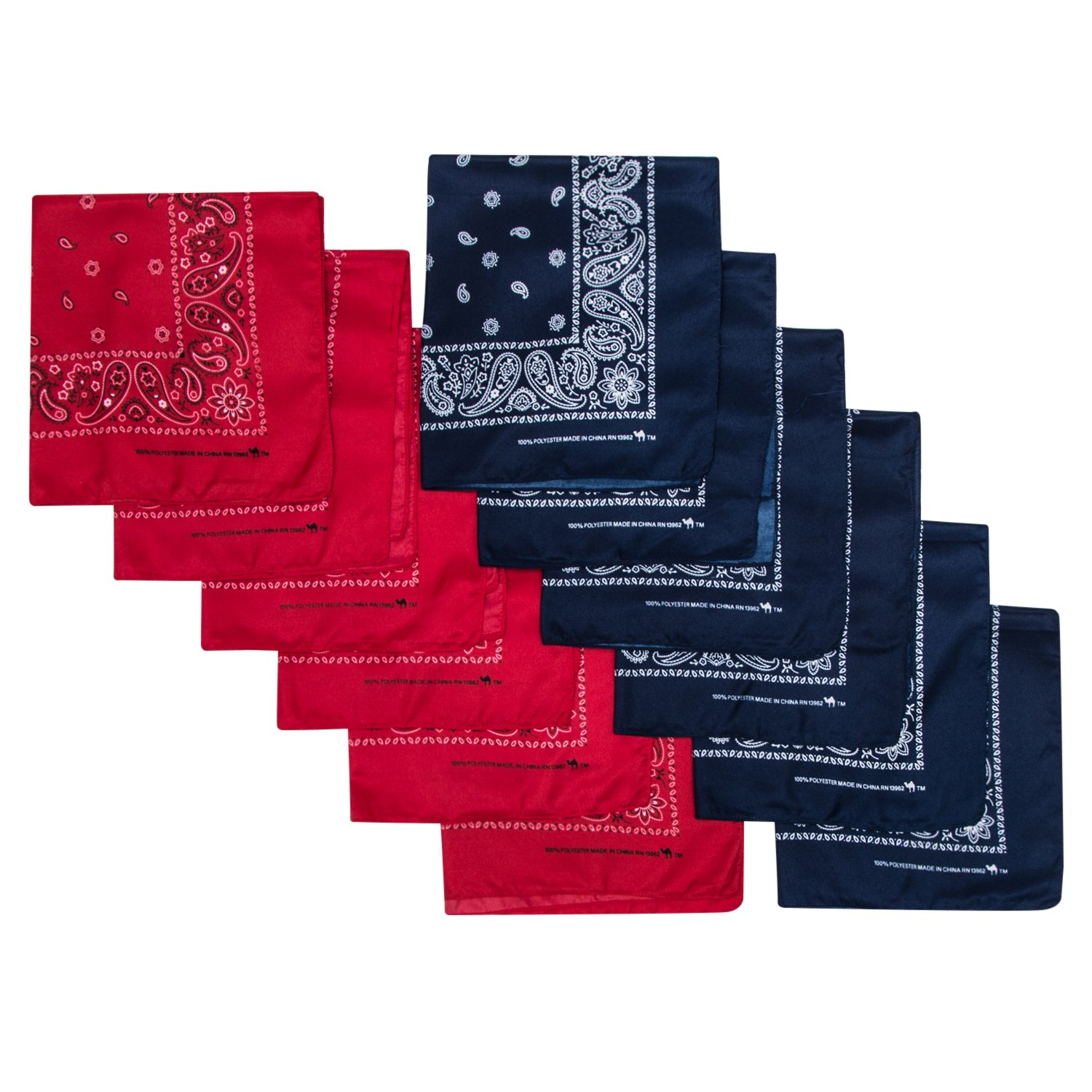 Camel Brand Bandana 12 Pack 21x21 100% Polyester (Red and Navy)