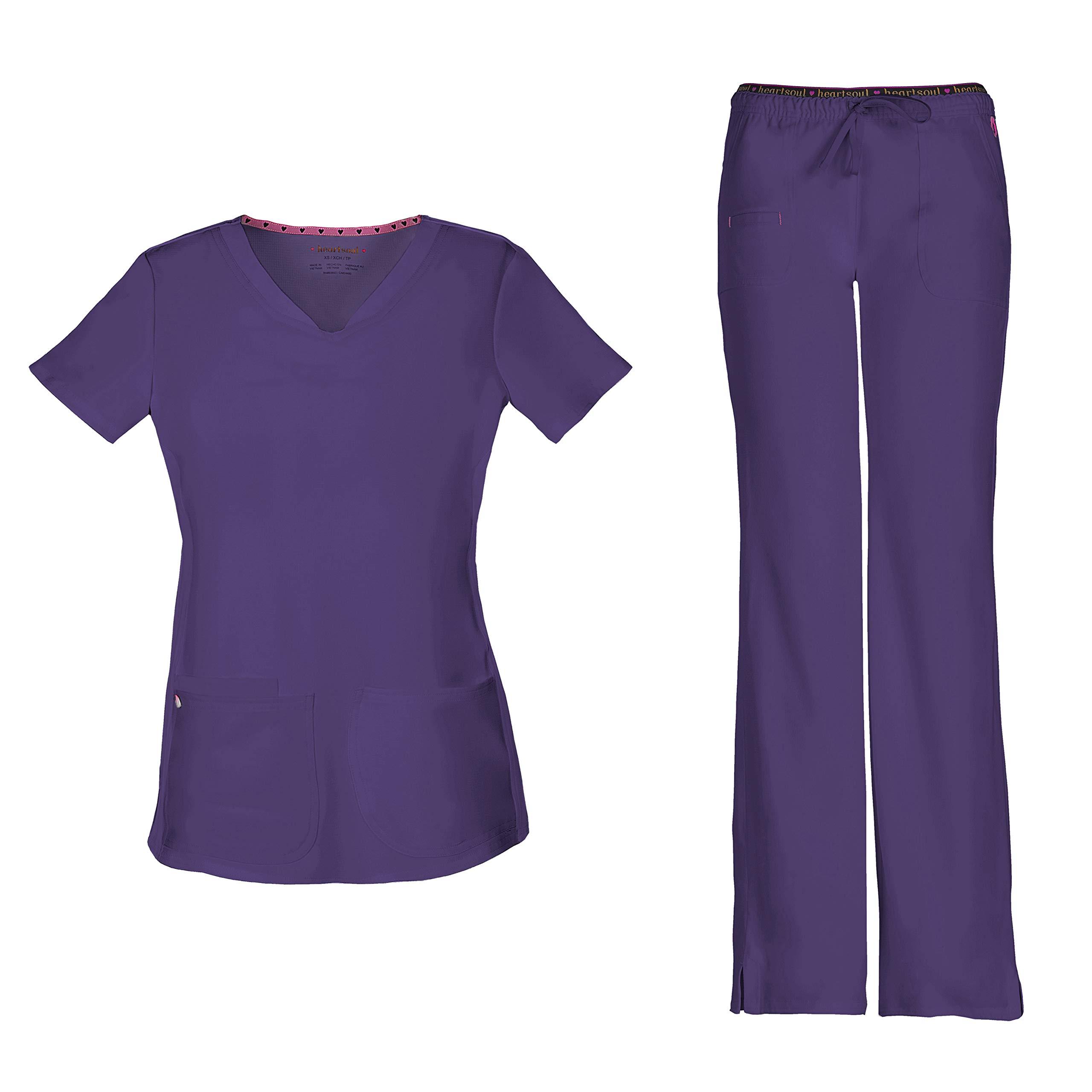 HeartSoul Women's Pitter-Pat Shaped V-Neck Scrub Top 20710 & Heartbreaker Heart Soul Drawstring Scrub Pants 20110 Medical Scrub Set (Grape - XX-Large/XXX-Large)