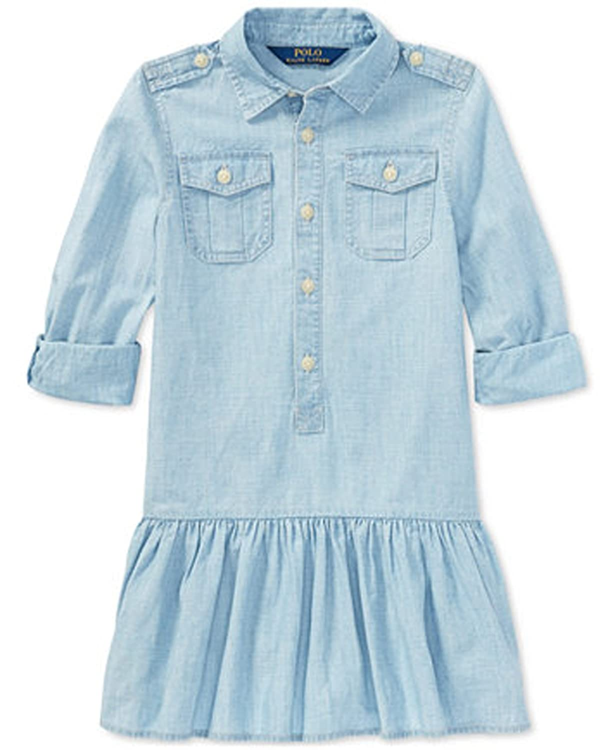 5c5bd26127 Amazon.com  RALPH LAUREN Polo Girls Chambray Cotton Shirtdress