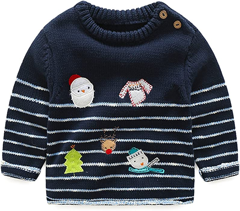 Amazoncom Sweaters For Little Boy Girl Dark Blue White Striped
