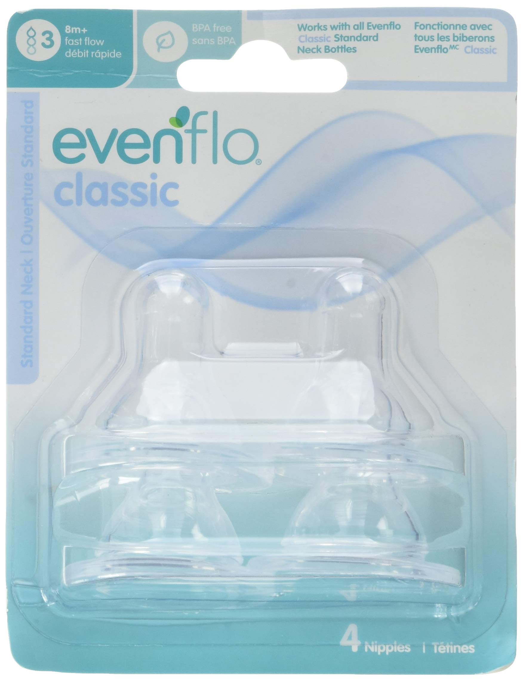 Evenflo Classic Bottle Nipples, 12 Count, Fast Flow by Evenflo