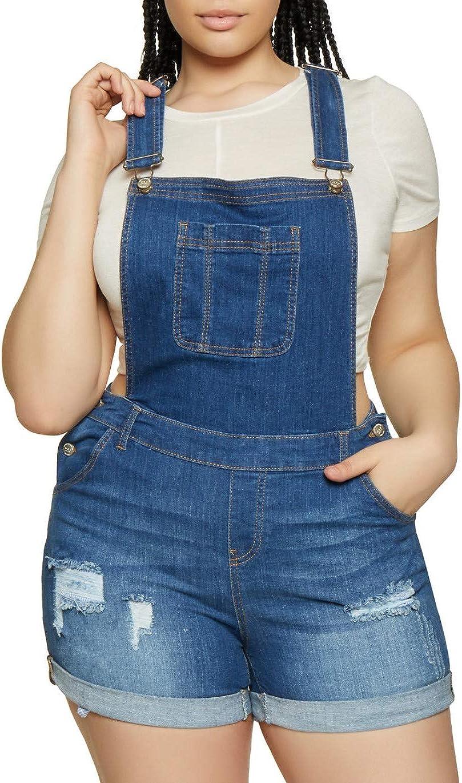 Jack David Wax//Vella Jeans Womens Plus Size Overall Shorts Curvy Distressed Denim Jeans Skinny Moto Overalls