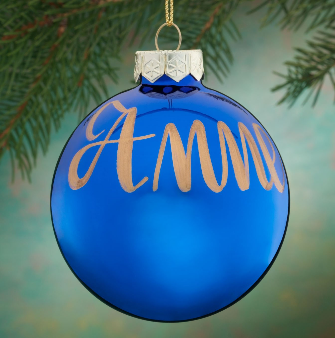 Miles Kimball Personalized Name OR Date Painted Blue Ornament