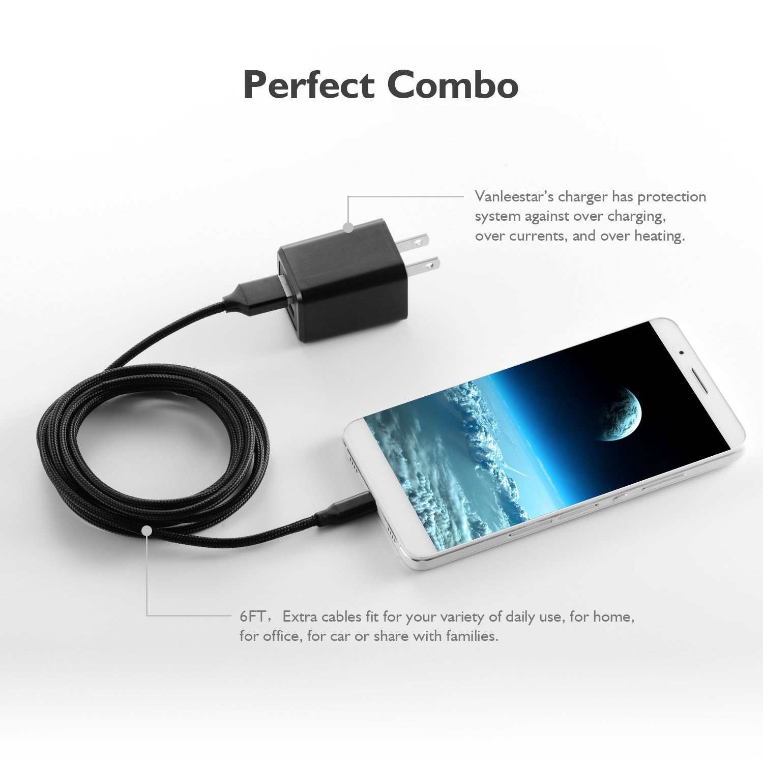 Amazon.com: Cable USB, cargador de pared, Vanleestar ...