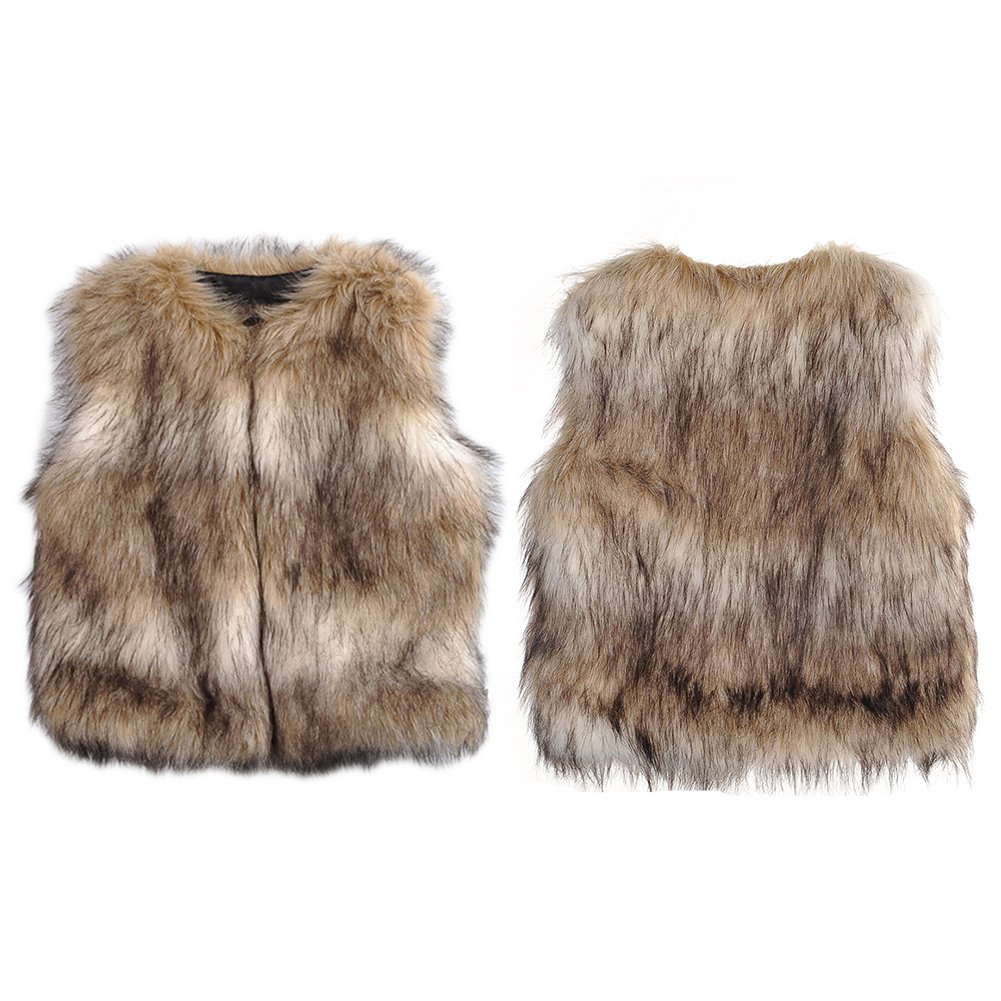 Unisex Baby Soft Faux Fur Vest Warm Sleeveless Jacket Per