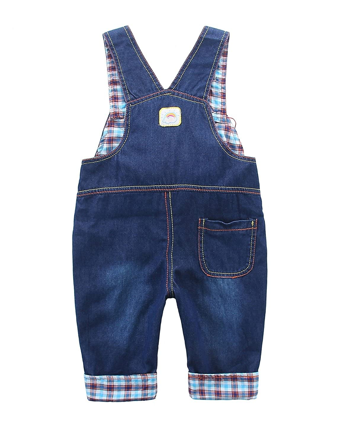 Baby boys girls Plaid Lining Denim Overalls Newborn Dungarees Jumpsuit Monkey with Banana Pattern Blue