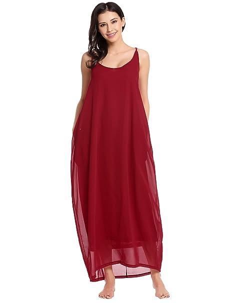 32b23894bc0f6 Zeagoo Women Fashion Halter Sleeveless Solid Party Beach Chiffon Long Maxi  Sundress
