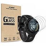 AKWOX [4 Unidades] Protector de Pantalla para Garmin Forerunner 735XT [9H Dureza] Cristal Vidrio Templado para Garmin…