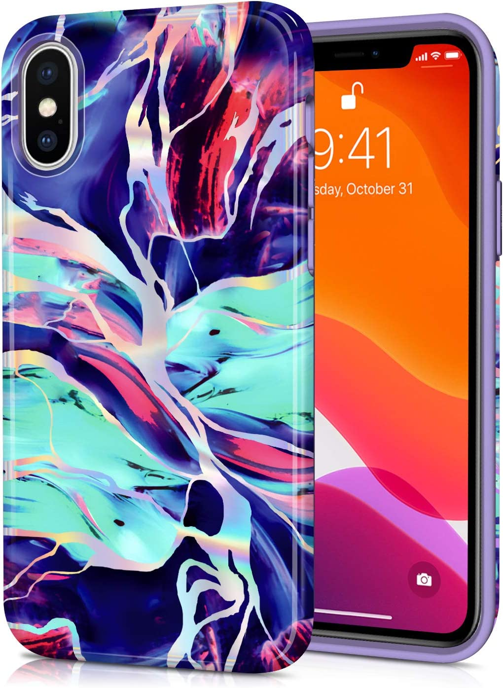 CAOUME iPhone X iPhone Xs Case - Holographic Purple Marble Design - Protective Cases for Apple Phone Camera and Screen - Compatible with iPhone X/XS(5.8 inch)