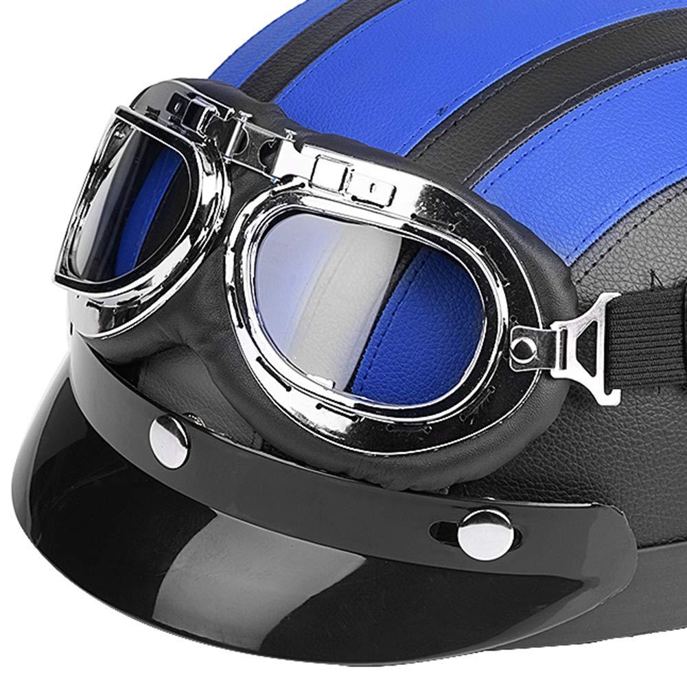 Yctze Mezzo casco aperto per motocicletta Universale per moto Scooter Mezzo casco aperto in pelle sintetica e visiera Occhiali UV Nero