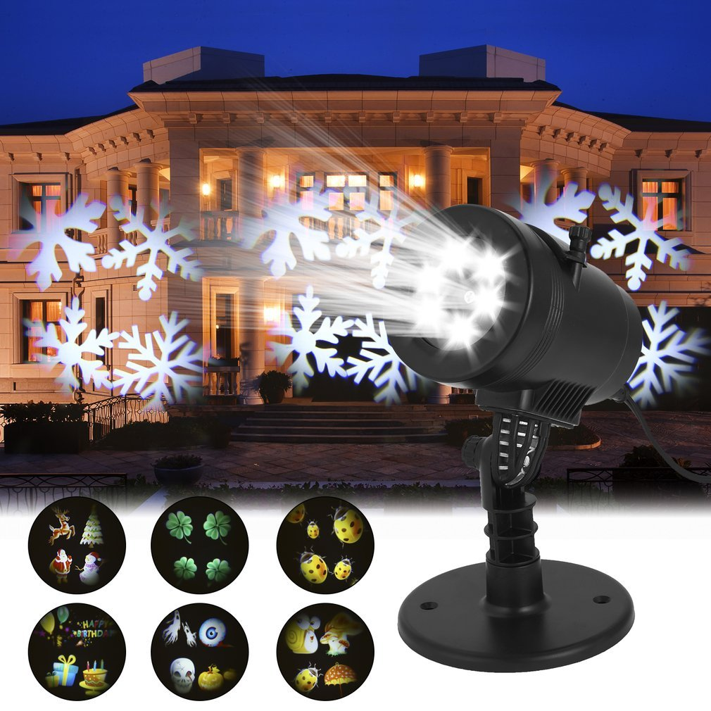 Mini Waterproof Christmas 4 1.5W LED Laser Projector Activated Moving Dynamic Film Projector Light Pattern Decoration Lamp