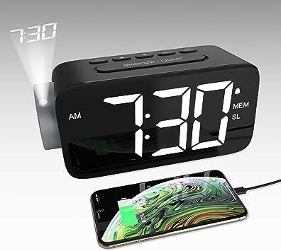 YISSVIC Despertador Digital con Proyector, Reloj Despertador ...