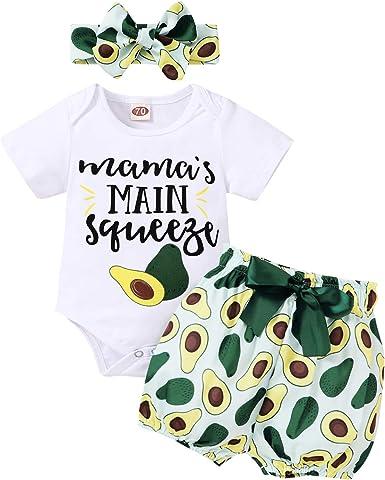 Baby Girl Bodysuit Pant Headband 3Pcs Outfits Set Newborn Toddler Clothes Romper