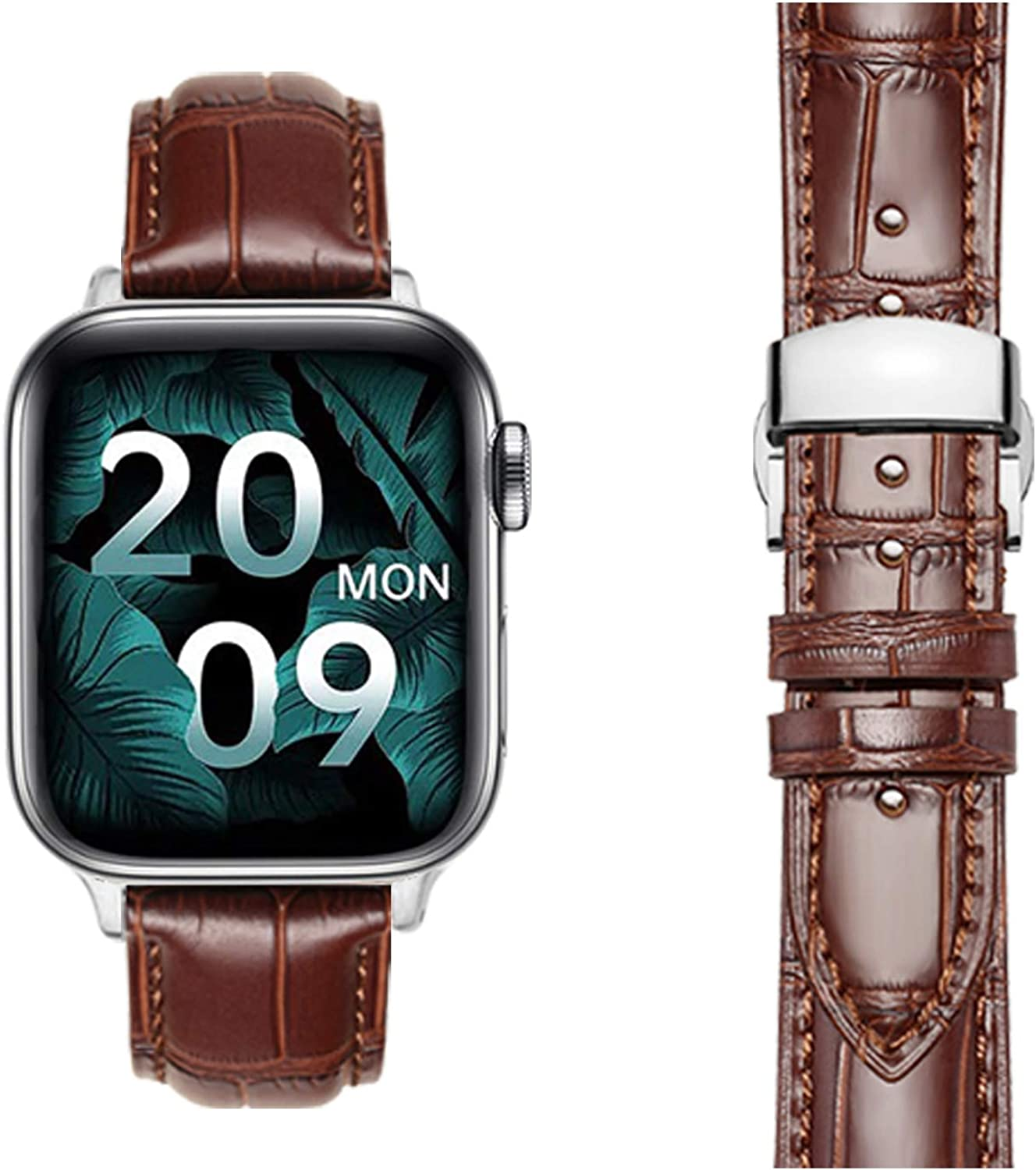 Moran Compatible with Apple Watch Band 38mm 40mm 42mm 44mm Genuine Leather Band Deployment Butterfly Buckle Replacement strap Compatible with iWatch series 6 5 4 3 2 1 SE