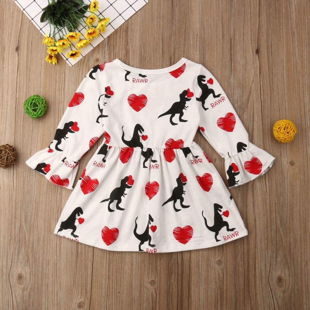 Cyhulu Toddler Baby Girl Long Sleeve Cartoon Dinosaur Heart Print Valentine Princess Dress Outfits 12M-5Y
