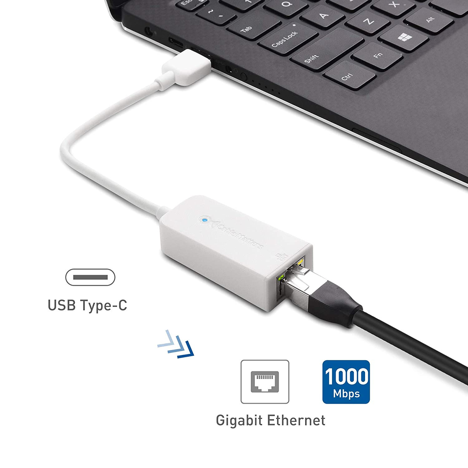 Cable Matters Usb C To Ethernet Adapter Router Diagram Also Ether Colors On Network Gigabit In White Thunderbolt 3 Port Compatible For Macbook Pro