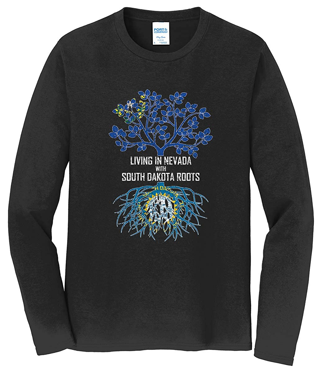Tenacitee Mens Living in Nevada South Dakota Roots T-Shirt