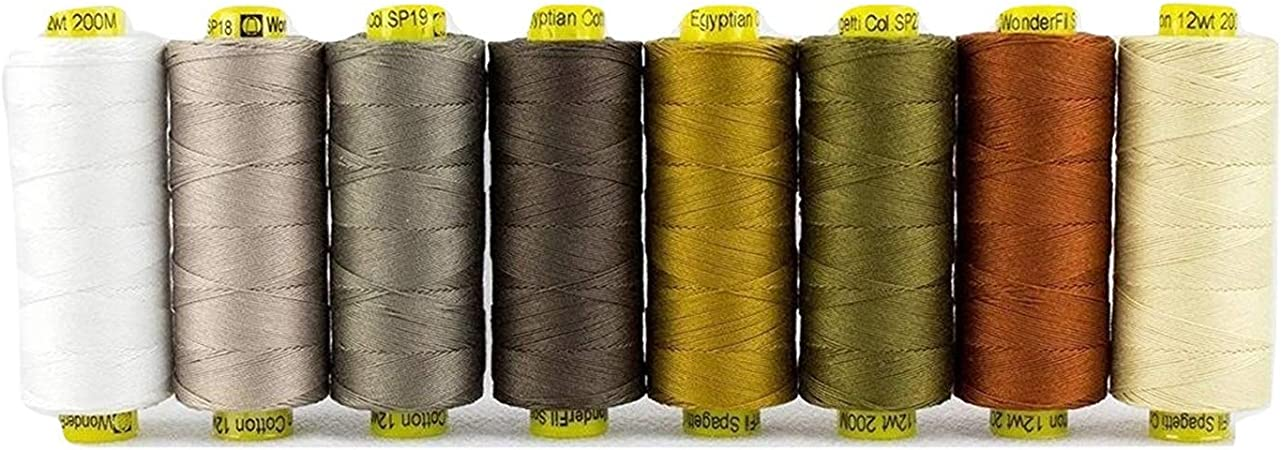 3-ply 100/% Long Staple Double-Gassed Egyptian Cotton 12wt WonderFil Specialty Threads Spagetti Rich Gold