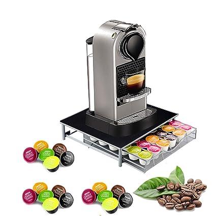 Soporte para máquina de café con cápsulas y soporte de almacenamiento de metal compatible con cajón
