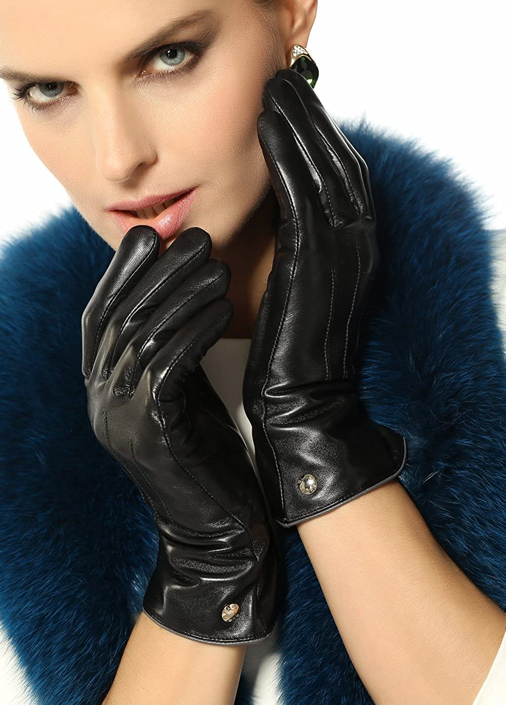 e580aecdb7 Elma Womens Classic Touchscreen Texting Winter Warm Driving Hairsheep  Leather Gloves 100% Pure Cashmere Lined at Amazon Women s Clothing store