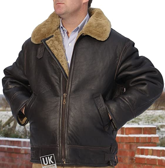 Mens Shearling Sheepskin Flying Jacket - Soft Brown Wool & Sealed ...