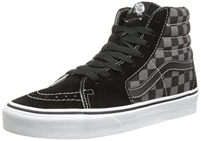 dc4af00f198a60 Image Unavailable. Image not available for. Color  Vans Unisex Sk8-Hi Black Pewter  Checkerboard Skate Shoe 8.5 Men US   10