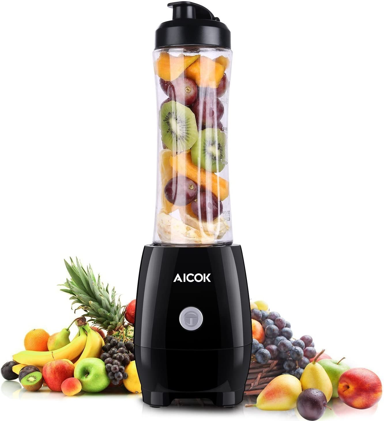 Aicok dsf Personal Blender 300W, Single Serve Blender with Sport Tritan Cup, Mini Blender, Bullet Blender for Shakes and Smoothies, Smoothie Blender for Travel, Individual/Student, Black