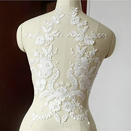 Amazon.com: Lace Fabric Cotton Embroidered Applique DIY High-end ...