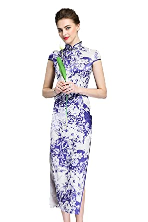 92a3366d068 YC Fashion Women Silk Printed Little Cap Sleeves Side Slit Elegant Classic  Chinese Qipao Long Dress - Blue -  Amazon.co.uk  Clothing