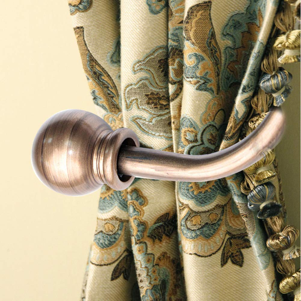 Premium Hooks yanQxIzbiu 2Pcs Modern Concise Ball Curtain Tieback Holdback Holder Drape Hook Decoration Bronze S