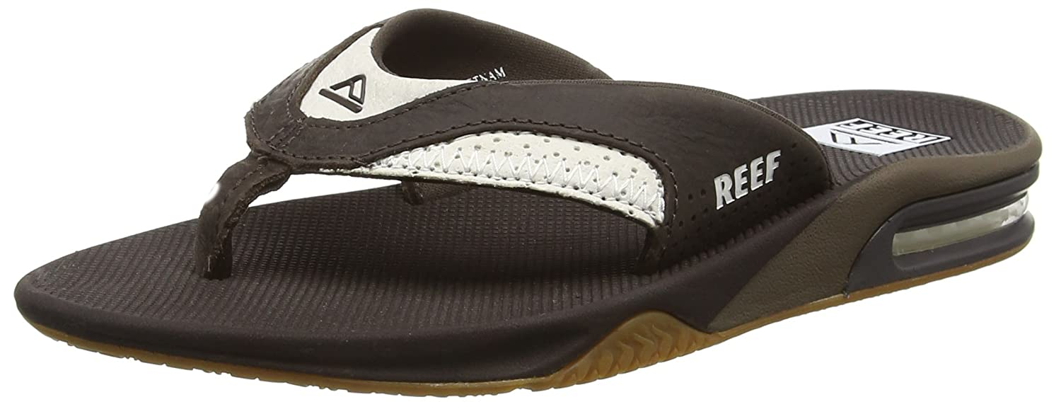 TALLA 49 EU. Reef Leather Fanning White/Brown, Chanclas para Hombre