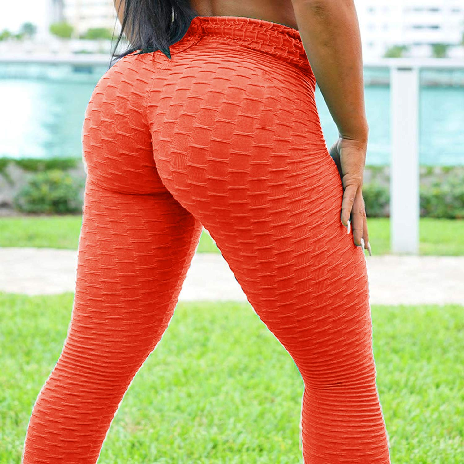 Twotwowin Womes High Waist Yoga Pants Ruched Butt Lifting Tummy Slimming Leggings Workout Tights