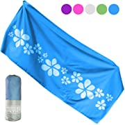 Microfiber Beach Towels for Camping Travel Swimming Hiking or Cruise. Best Gear Travel Gifts/Beach Vacation Accessories for Women Girls. Blue Lightweight Quick Dry Beach & Travel Essentials