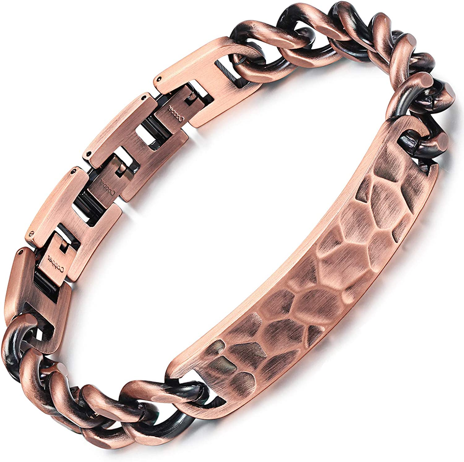 RainSo Mens Adjustable Double Row 3500 Gauss 99.95% Pure Copper Magnetic Therapy Bracelet Pain Relief